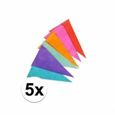5x papieren vlaggenlijn gekleurd 10 m
