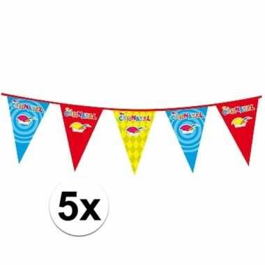 5x plastic carnaval vlaggenlijnen
