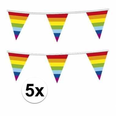 5x plastic regenboog vlaggenlijn 10 meter