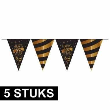 5x plastic slingers nieuwjaar zwart 10 meter