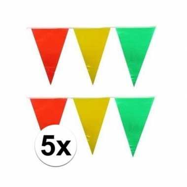 5x plastic vlaggenlijn geel/rood/groen 10 meter