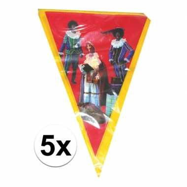5x sinterklaas vlaggenlijn versiering 5 meter