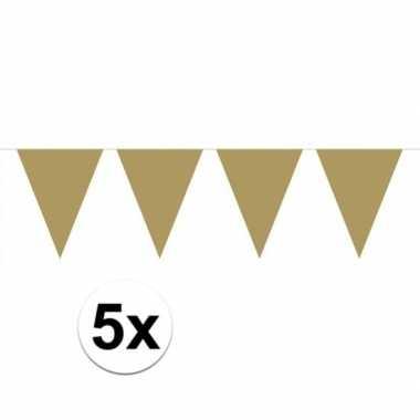 5x stuks gouden vlaggenlijnen groot 6 meter