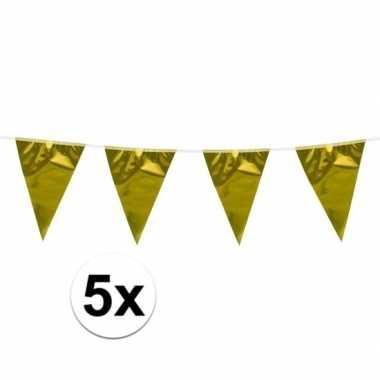 5x stuks goudkleurige slingers/vlaggetjes 10 meter