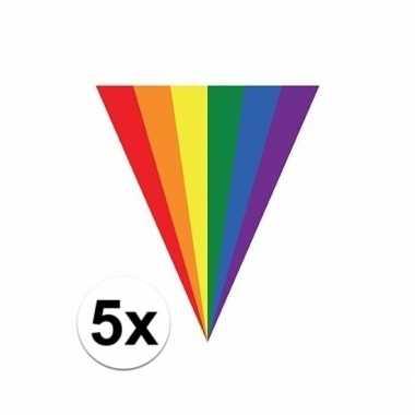 5x stuks regenboog thema vlaggenlijnen 5 meter