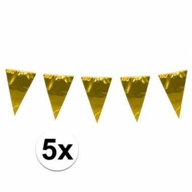 5x stuks xxl goudkleurige slingers 10 meter