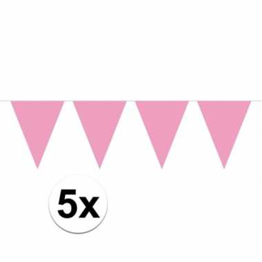5x vlaggenlijnen baby roze kleurig 10 m