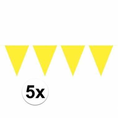 5x vlaggenlijnen geel kleurig 10 m