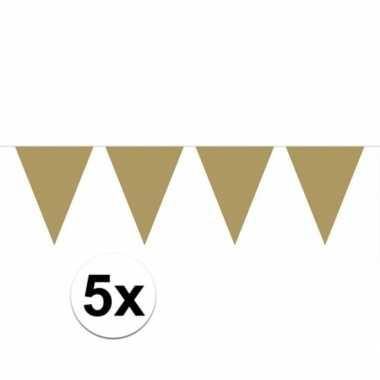 5x vlaggenlijnen goud kleurig 10 m