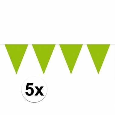 5x vlaggenlijnen groen kleurig 10 m