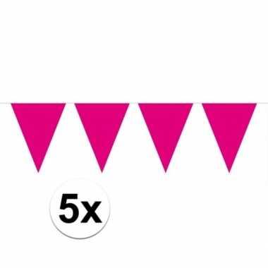 5x vlaggenlijnen magenta roze kleurig 10 m