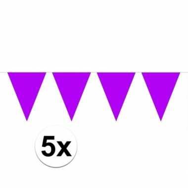 5x vlaggenlijnen paars kleurig 10 m