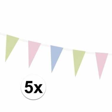 5x vlaggenlijnen pastel tinten 135 cm