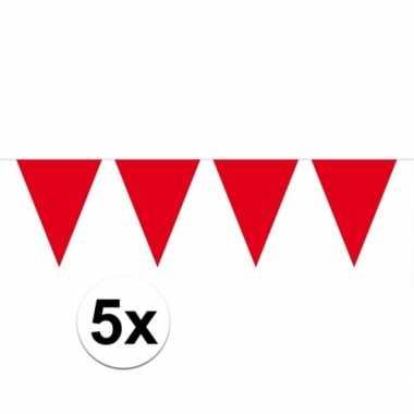 5x vlaggenlijnen rood kleurig 10 m