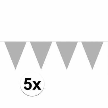 5x vlaggenlijnen zilver kleurig 10 m