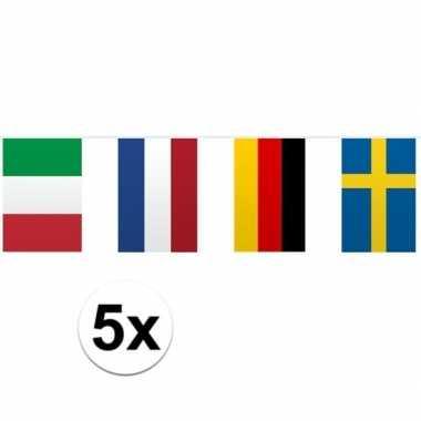 5x vlaggetjeslijn europa 10 meter