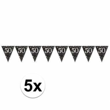 5x zwarte vlaggenlijn 50e jubileum feestartikelen