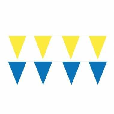 60 meter gele/blauwe buitenvlaggetjes
