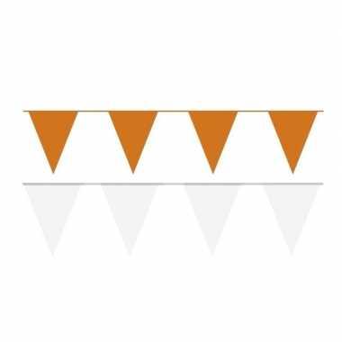 60 meter witte/oranje buitenvlaggetjes