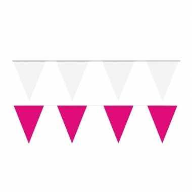 60 meter witte/roze buitenvlaggetjes
