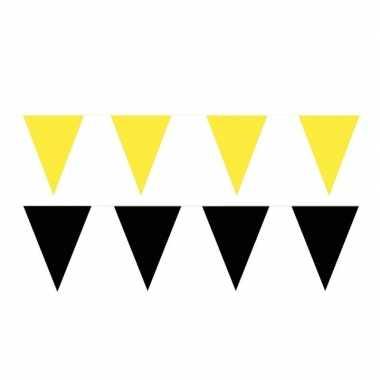 60 meter zwart/gele buitenvlaggetjes