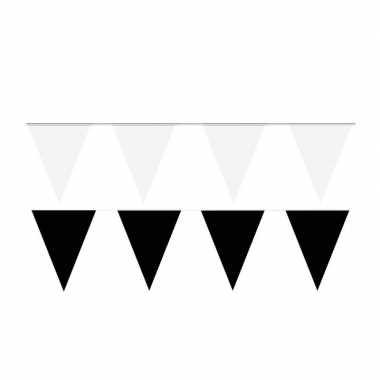 60 meter zwart/witte buitenvlaggetjes