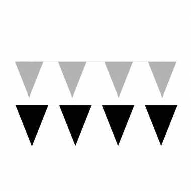 60 meter zwart/zilveren buitenvlaggetjes