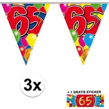 65 jaar vlaggenlijnen 3x met gratis sticker