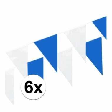 6x blauw en witte vlaggenlijnen 10 meter