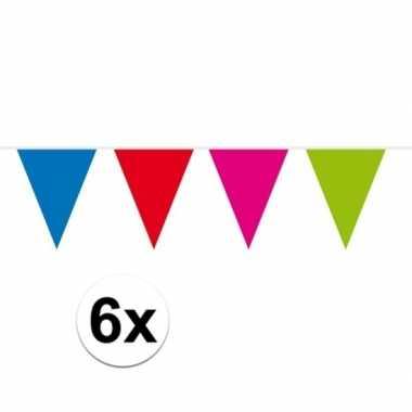 6x gekleurde vlaggenlijn groot 10 meter