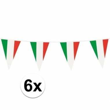 6x italiaanse vlaggetjes slinger plastic 10m
