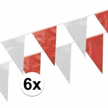 6x rood witte vlaggetjes 10 meter