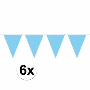 6x vlaggenlijnen baby blauw kleurig 10 m