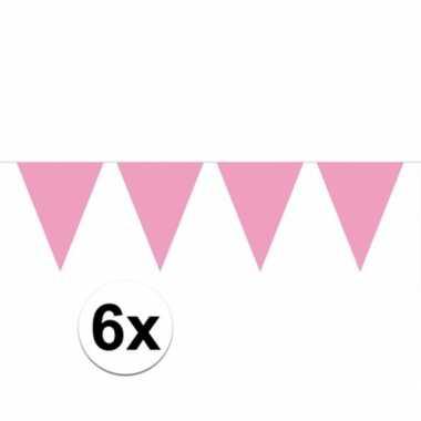 6x vlaggenlijnen baby roze kleurig 10 m