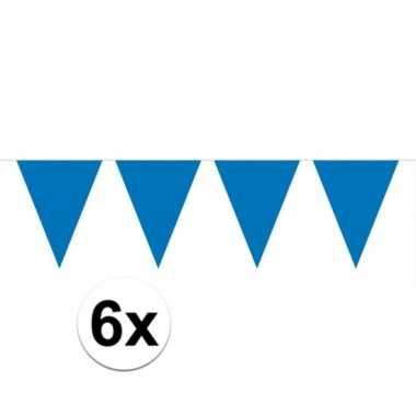 6x vlaggenlijnen blauw kleurig 10 m