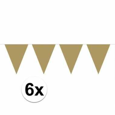 6x vlaggenlijnen goud kleurig 10 m