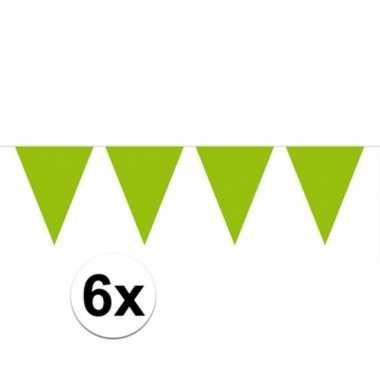 6x vlaggenlijnen groen kleurig 10 m