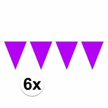 6x vlaggenlijnen paars kleurig 10 m