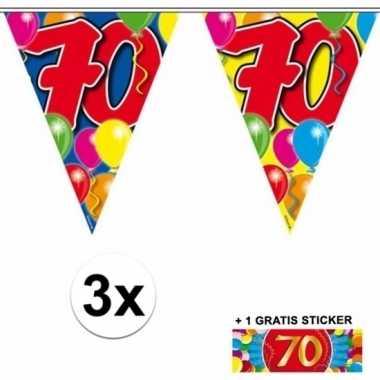 70 jaar vlaggenlijnen 3x met gratis sticker