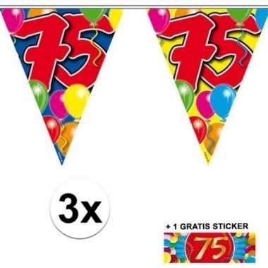 75 jaar vlaggenlijnen 3x met gratis sticker
