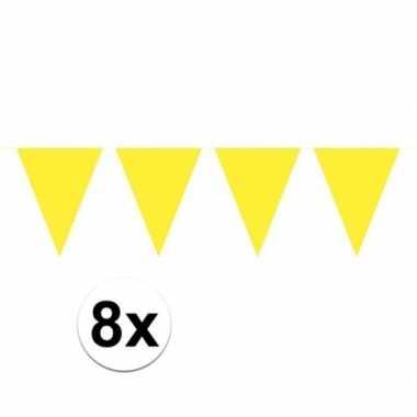 8 stuks gele vlaggenlijnen groot 10 meter