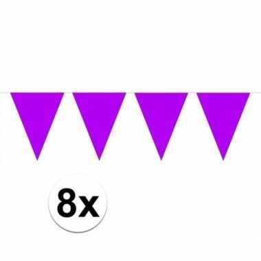 8 stuks paarse vlaggenlijnen groot 10 meter