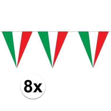 8 stuks puntvlaggetjes italie 5 meter