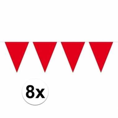 8 stuks rode vlaggenlijnen groot 10 meter