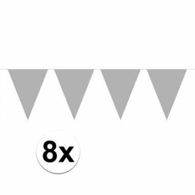 8 stuks zilveren vlaggenlijnen groot 10 meter