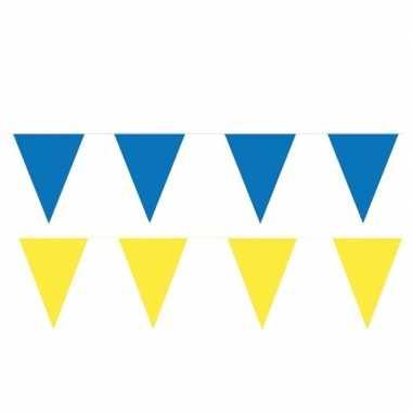 80 meter gele/blauwe buitenvlaggetjes