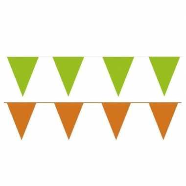 80 meter oranje/groene buitenvlaggetjes