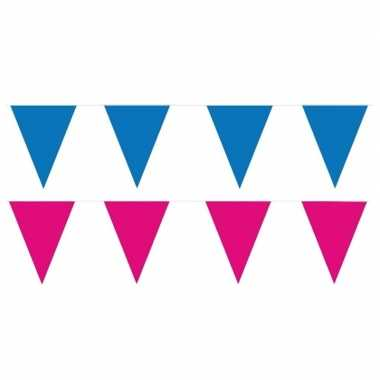 80 meter roze/blauwe buitenvlaggetjes