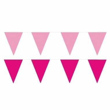 80 meter roze/lichtroze buitenvlaggetjes