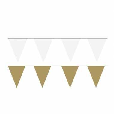 80 meter witte/gouden buitenvlaggetjes